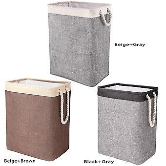 Dirty Clothes Storage Basket Household Sundries Storage Bag Detachable Bracket Foldable Cotton Linen  Laundry Basket