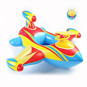 Oppustelige Airplane Baby Kids Toddler Infant Svømning Float Seat Boat Ring Alder 1-6 (blå og hvid)