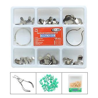 100pcs Full Kit Dental Matrix Secțional Conturat Metal Matrices Dentist Tool