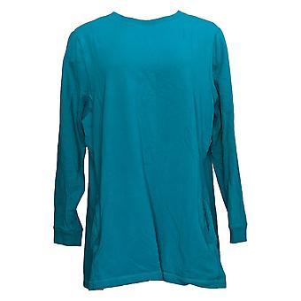 Denim & Co. Women's Top Active Crew Neck Long Sleeve Tunic Blue A297782