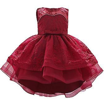 Baby Meisje Formele Doop Prinses Jurk 887-wijn rood