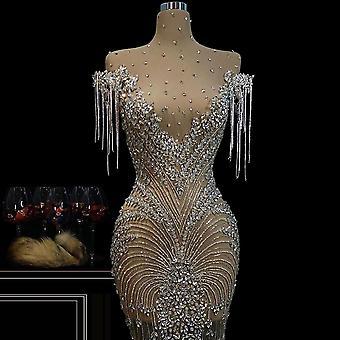 Gorgeous Crystals Celebrity Dresses Mermaid Mini Illusion Red Carpet Runaway