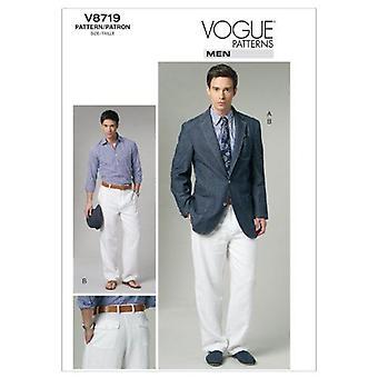 Vogue Patrones de costura 8719 pantalones chaqueta para hombre Tamaño 40-46 MXX