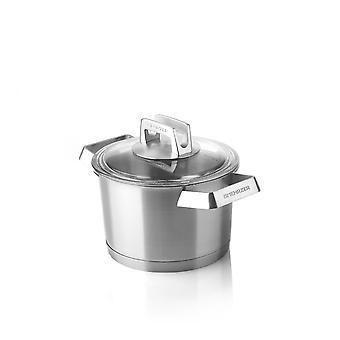 Mehrzer Premium - Hoge kookpan met deksel - 16 cm - RVS