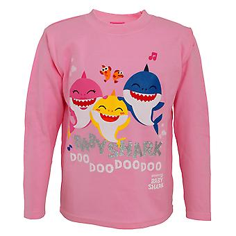 Baby Shark Childrens/Girls Official Baby Shark And Family Glitter Long Sleeve Top