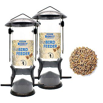 2 x Simply Direct Premium Hammertone Wild Bird Seed Feeders with 1KG Bag of Seed Feed