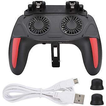 Mobiele gamecontroller, PUBG draagbare mobiele controller met voeding en ventilator, 4,7-6,5 inch mobiele controller voor Android en iOS (zwart)