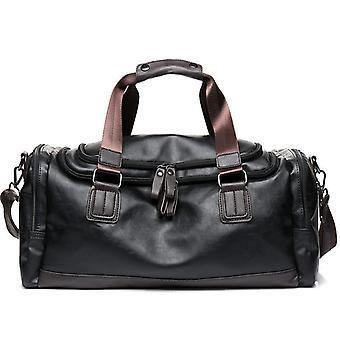 Marca de luxo bolsa de viagem couro casual homens bolsa grande tote grande capacidade de bagagem de fim de semana duffle bolsa masculino sacos de ombro preto