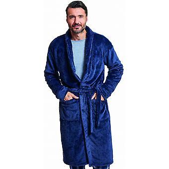 halat de baie bărbați poliester albastru închis one-size