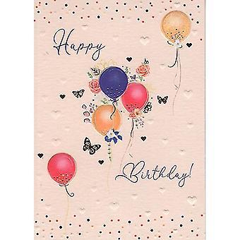 ICG Ltd Pretty In Peach Card Happy Birthday Balloons