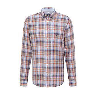 Fynch-Hatton Fynch-hatton Long Sleeved Linnen Shirt Lava Madras