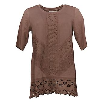 LOGOTIPO por Lori Goldstein Women's Top X Embelezado Tee Brown A349046