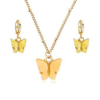 Acryl vlinder oorbellen, hanger, kettingen combinatie set, legering ketting