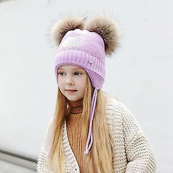 على شكل قلب الراين القبعات الشتوية ل، سميكة القطن محبوك آذان بومبوم قبعات