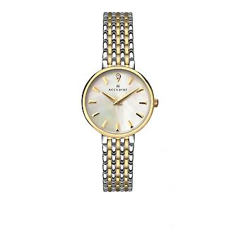 Accurist Ladies Round Mother Of Pearl Dial 2 Colour Bracelet Watch 8154