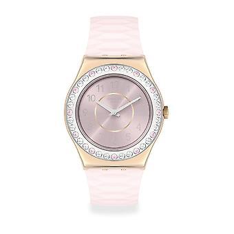 Swatch Ylg147 Ironia Kultainen Rosaline Ruusukulta ja vaaleanpunainen silikonikello