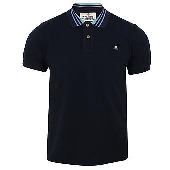 Vivienne westwood men's navy stripe collar polo shirt
