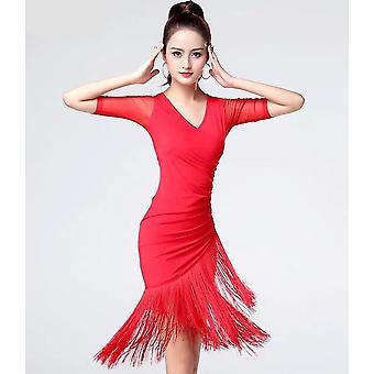 Jednodielne kostýmy s krátkym rukávom, latino tanec, tasselové šaty, tanečné kostýmy