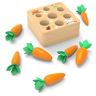 Wooden fun plucking radish toy children's puzzle insert carrot game baby toys early childhood
