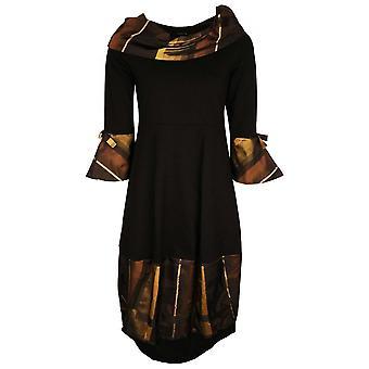 Latte Black Long Sleeve Dress With Parachute Bottom & Yellow Contrasting Ruffle Collar