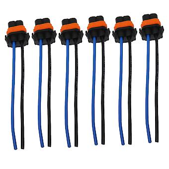 6PCS Plastic Female Adapters Wiring Harness 9006 Sockets Wire Pigtails