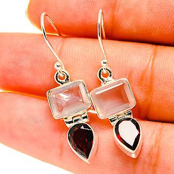 "Rose Quartz, Garnet Earrings 1 1/2"" (925 Sterling Silver)  - Handmade Boho Vintage Jewelry EARR417167"
