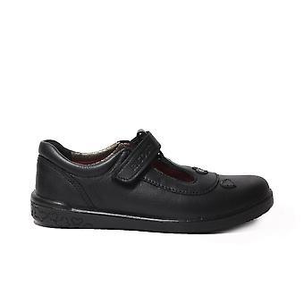 Ricosta Liza 8625900-090 Cuero Negro Niñas Rip Tape T Bar Zapatos escolares