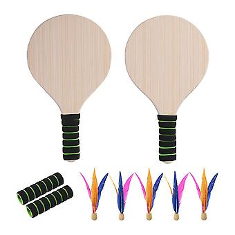 Beach Paddle Ball Game Set Beach Paddle Badminton Racket Indoor And Outdoor Badminton Game Battledore For Children Teenagers (random Handle Color)