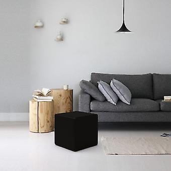 Pouf Square, Color Black Wood, Velvet, L34xP34xA37 cm