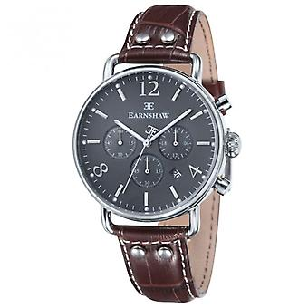 Thomas Earnshaw Es-8001-04 Investigator Silver & Grey Brown Textured Leather Mens Chronograph Watch