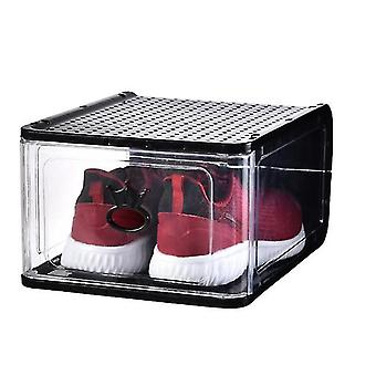 High Grade Thickened Transparent Plastic Shoe Box, Detachable Folding Shoe Box Storage(Black)