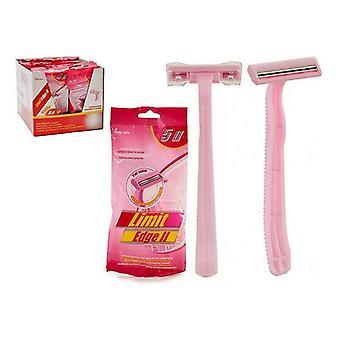 Plástico de metal rosa de afeitar desechable (5 piezas)