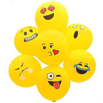 100Pcs Emoji Smiley, Party Ballons einschließlich 12 verschiedene lustige Emoji Designs,Latexballons