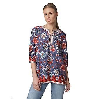 Shuuk Collarless Boho-Chic Tunic Polyester Top - Lightweight & Durable Quality