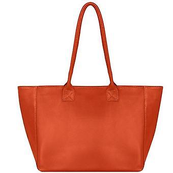Bränd orange horisontell lädertå med dragkedja