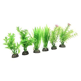 "Penn Plax Plastic Plant Pack 4"" Green - 6 count"