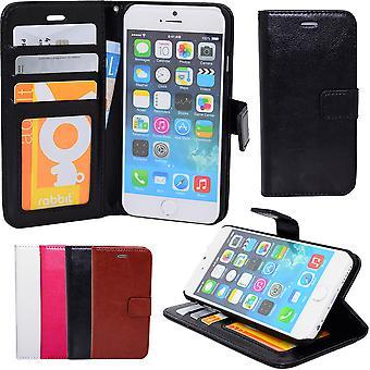 Iphone 6 / 6s - Tegnebog sag i læder + skærmbeskytter