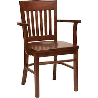 Yale Wood Walnut Kitchen Dining Chair With Arms Fully Assembled
