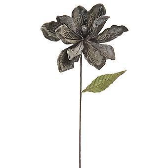 53cm Pewter Grey Velvet och Glitter Magnolia Stem för blomsterhantverk