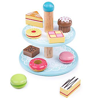 Toy kitchens play food wooden cake stand with 9 wooden cakes - pretend role play