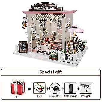 Dollhouse accessories diy dollhouse kit wood little house miniature building for adult baking cake room kids toys doll