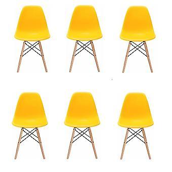 Milano design stoel - geel - 6 delige set - keuken - huiskamer