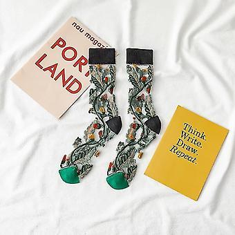Womens novelty harajuku crystal silk tide socks for summer with patterns(Black)