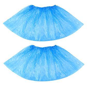 Balacoo 100ks Jednorazové plastové topánky kryty koberce čistenie overshoes (modrá)