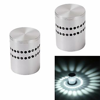 2 Pieces Wall Lamp Indoor Led Wall Light 3w Creative Spiral Perforated Wall Light Home Decor Sconce  3 W, White Light  2 Pieces