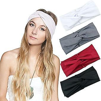 4pcs Cross Yoga Sports Headband Moisture Wicking Fitness Hair Band