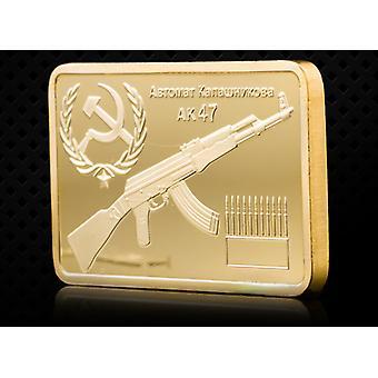 1947 Allemand Ak47 Plaqué Or Médaille Carrée Collection Coin Sniper Custom Badge Pièce d'Or Pièce