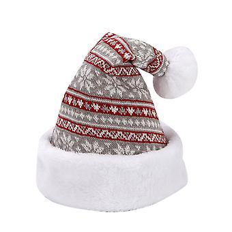 Silktaa Flanelle Chapeau de Noël Flocon de Neige Motif Tricot Tricoté Décoration de Fête de Noël Chapeau