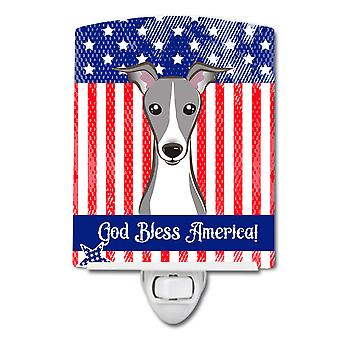Amerikaanse vlag en Italiaanse windhond keramische nachtlampje