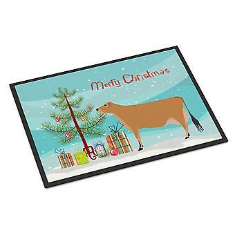 キャロラインズ宝物 BB9196MAT ジャージー牛クリスマス屋内または屋外マット 18 x 27